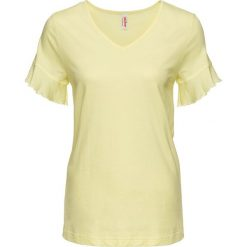 Bluzki, topy, tuniki: T-shirt z falbanami bonprix cytrynowy sorbetowy