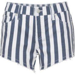 Szorty dżinsowe bonprix ciemnoniebiesko-biały w paski. Niebieskie bermudy damskie bonprix, w paski, z jeansu. Za 37,99 zł.
