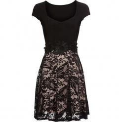 Sukienka z koronką bonprix czarno-cielisty. Czarne sukienki koronkowe marki bonprix, z aplikacjami. Za 149,99 zł.