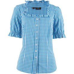 Bluzka ludowa, krótki rękaw bonprix niebieski lodowy - biały w kratę. Niebieskie bluzki damskie bonprix, z krótkim rękawem. Za 79,99 zł.