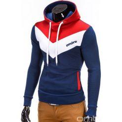 BLUZA MĘSKA Z KAPTUREM ARTURO - GRANATOWA. Czerwone bluzy męskie rozpinane Ombre Clothing, m, z bawełny, z kapturem. Za 79,00 zł.