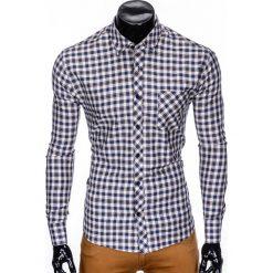 KOSZULA MĘSKA W KRATĘ Z DŁUGIM RĘKAWEM K422 - BEŻOWA/BRĄZOWA. Brązowe koszule męskie na spinki marki Ombre Clothing, m, z aplikacjami, z kontrastowym kołnierzykiem, z długim rękawem. Za 49,00 zł.