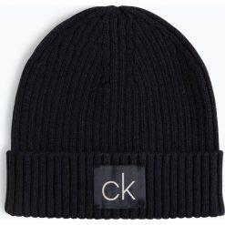 Calvin Klein - Czapka męska z dodatkiem kaszmiru, niebieski. Niebieskie czapki męskie marki Calvin Klein, w prążki, z bawełny, klasyczne. Za 139,95 zł.