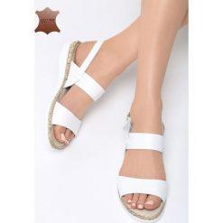 Białe Skórzane Sandały Foreign Fields. Białe sandały damskie marki Born2be, z materiału, na obcasie. Za 99,99 zł.