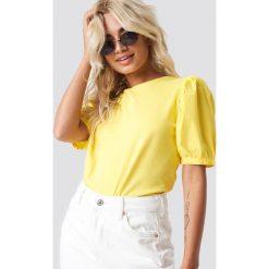 Trendyol T-shirt z bufiastym rękawem - Yellow. Żółte t-shirty damskie marki Trendyol, z materiału. W wyprzedaży za 42,67 zł.