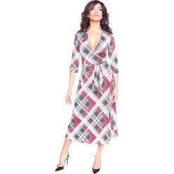 """Sukienki hiszpanki: Sukienka """"Dofi"""" w kolorze bordowo-szaro-białym"""
