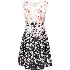 Sukienki: Sukienka neoprenowa bonprix czarno-kremowy wzorzysty