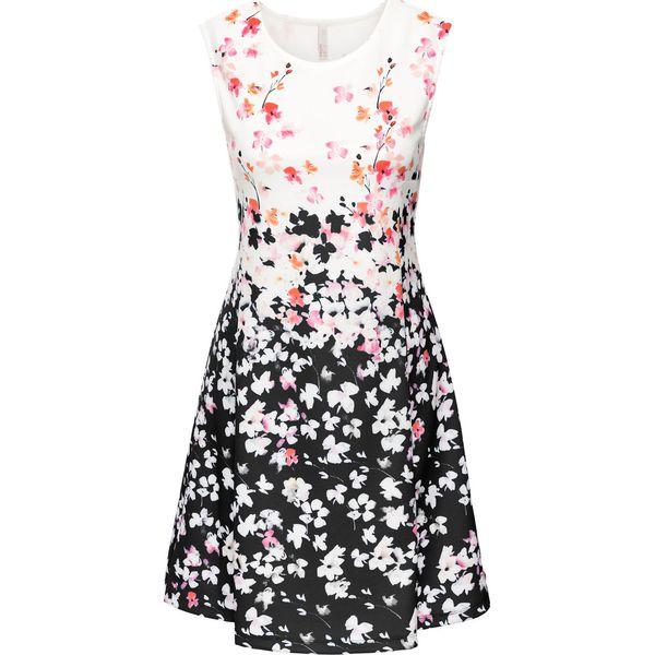 63b3b6441d Sukienka neoprenowa bonprix czarno-kremowy wzorzysty - Sukienki ...