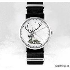 Zegarki męskie: Zegarek – Jeleń – czarny, nato, unisex