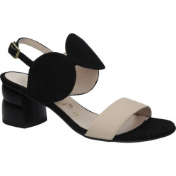 Czarne sandały skórzane na ozdobnym obcasie Oleksy 2292/147/B19/000/000. Szare sandały damskie marki Oleksy, ze skóry. Za 238,99 zł.