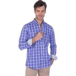 """Koszule męskie na spinki: Koszula """"Footwork"""" w kolorze niebiesko-białym"""