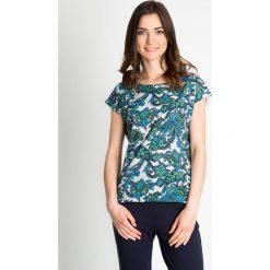 Bluzki damskie: Bluzka z turkusowo-zielonym wzorem QUIOSQUE