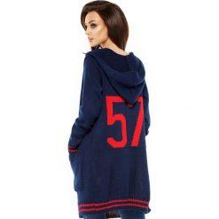 Sweter kardigan z kapturem ls210. Niebieskie kardigany damskie marki SaF, na co dzień, xl, z żakardem, z asymetrycznym kołnierzem, dopasowane. W wyprzedaży za 119,00 zł.