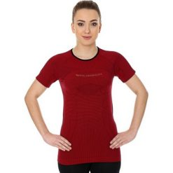 Bluzki sportowe damskie: Brubeck Koszulka damska 3D Run PRO z krótkim rękawem bordowa r. L (SS12030)