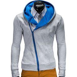 Bluzy męskie: BLUZA MĘSKA ROZPINANA Z KAPTUREM PRIMO – SZARO/NIEBIESKA