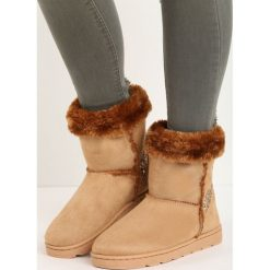 Camelowe Śniegowce Vanity Fair. Żółte buty zimowe damskie marki Kazar, ze skóry, na wysokim obcasie, na obcasie. Za 79,99 zł.
