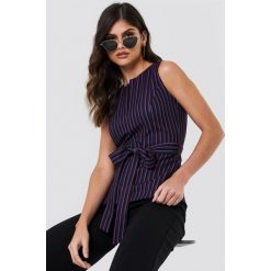 Paski damskie: Trendyol Top w paski z rozcięciem – Black,Multicolor