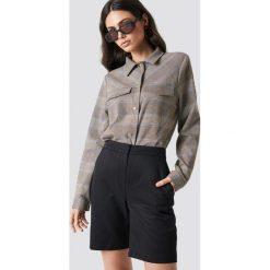 Spodnie damskie: NA-KD Classic Dopasowane spodnie z wysokim stanem - Black