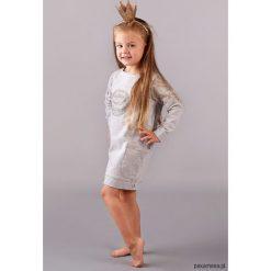 SUKIENKA z kieszeniami MOON. Szare sukienki dziewczęce Pakamera, z aplikacjami. Za 79,00 zł.