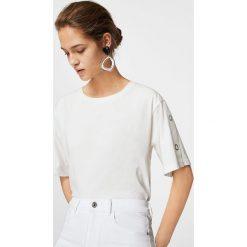 Mango - Jeansy Noa2. Białe jeansy damskie marki Mango, z bawełny, z podwyższonym stanem. W wyprzedaży za 79,90 zł.