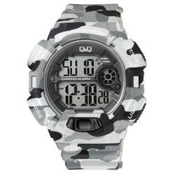 Biżuteria i zegarki męskie: Zegarek Q&Q Męski M132-006 Camouflage szary