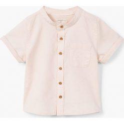 Mango Kids - Koszula dziecięca Maki 80-104 cm. Szare koszule chłopięce z krótkim rękawem Mango Kids, z bawełny, ze stójką. W wyprzedaży za 39,90 zł.