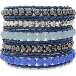 Bransoletki damskie: Skórzana bransoletka w kolorze niebiesko-srebrnym