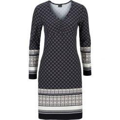 Sukienka bonprix beżowo-czarny z nadrukiem. Brązowe sukienki dzianinowe bonprix, z nadrukiem, z dekoltem w serek, dopasowane. Za 89,99 zł.