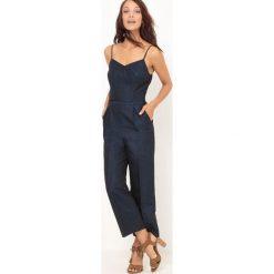 Kombinezony damskie: Kombinezon z długimi spodniami z bawełny i lnu