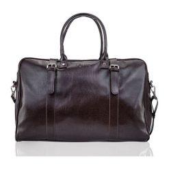 Stylowa męska torba podróżna, weekend Solier MACAN. Czarne torby podróżne Solier, w paski, ze skóry ekologicznej, na ramię. Za 249,00 zł.
