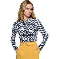 Elegancka Wzorzysta Bluzka z Wiązaniem - Model 1. Czarne bluzki longsleeves marki Molly.pl, l, w jednolite wzory, z tkaniny, eleganckie, dekolt w kształcie v. Za 105,90 zł.