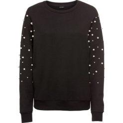 Bluza z perełkami bonprix czarny. Czarne bluzy damskie bonprix. Za 79,99 zł.
