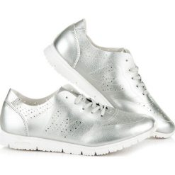JEANETTA srebrne tenisówki. Białe tenisówki damskie marki Merg. Za 99,00 zł.
