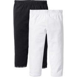 Spodnie dziewczęce: Legginsy rybaczki z koronkowym dołem nogawek (2 pary) bonprix biały + czarny