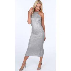 Sukienka z dekoltem halter jasnoszara 363. Szare sukienki Fasardi, z dekoltem halter. Za 69,00 zł.