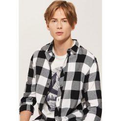 Koszula w kratę - Biały. Szare koszule męskie marki House, l, z bawełny. Za 59,99 zł.