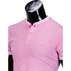 KOSZULKA MĘSKA POLO BEZ NADRUKU S843 - RÓŻOWA. Czerwone koszulki polo marki Ombre Clothing, m, z nadrukiem. Za 29,00 zł.