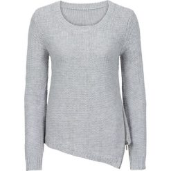 Swetry klasyczne damskie: Sweter dzianinowy z zamkiem bonprix jasnoszary melanż