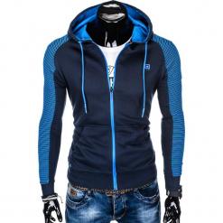 BLUZA MĘSKA ROZPINANA Z KAPTUREM B820 - GRANATOWA/NIEBIESKA. Niebieskie bluzy męskie rozpinane marki Ombre Clothing, m, z bawełny, z kapturem. Za 69,00 zł.