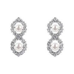 Kolczyki damskie: Kolczyki w kolorze srebrno-białym z perłami i szafirami