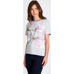 Bluzki damskie: Szara bluzka w magnolie QUIOSQUE