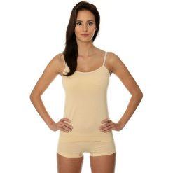 Topy sportowe damskie: Brubeck Koszulka damska Camisole COMFORT COTTON beżowa r. S (CM00210A)