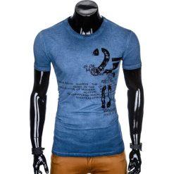 T-SHIRT MĘSKI Z NADRUKIEM S893 - GRANATOWY. Niebieskie t-shirty męskie z nadrukiem marki Ombre Clothing, m. Za 39,00 zł.