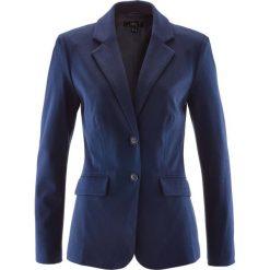 Żakiet bawełniany z dżerseju bonprix ciemnoniebieski. Brązowe marynarki i żakiety damskie marki bonprix. Za 149,99 zł.