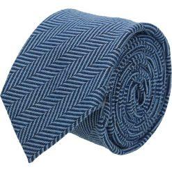 Krawat cotton niebieski classic 203. Niebieskie krawaty męskie Recman, z aplikacjami, z bawełny, eleganckie. Za 59,00 zł.