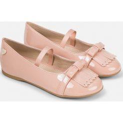 Mayoral - Baleriny dziecięce. Różowe baleriny dziewczęce marki Mayoral, z bawełny, z okrągłym kołnierzem. W wyprzedaży za 119,90 zł.