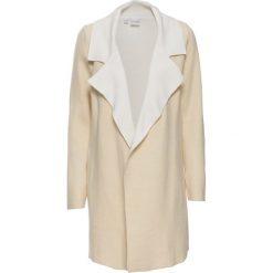 Płaszcze damskie: Płaszcz dzianinowy bonprix piaskowy beżowy – biel wełny