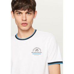 T-shirty męskie: T-shirt z ozdobnymi ściągaczami - Biały