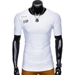 T-shirty męskie: T-SHIRT MĘSKI Z NADRUKIEM S957 - BIAŁY