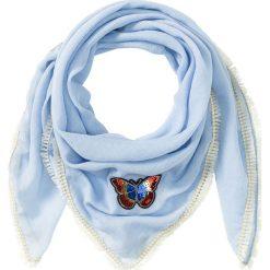 Chusta z frędzami bonprix lodowy niebieski. Niebieskie chusty damskie bonprix. Za 24,99 zł.